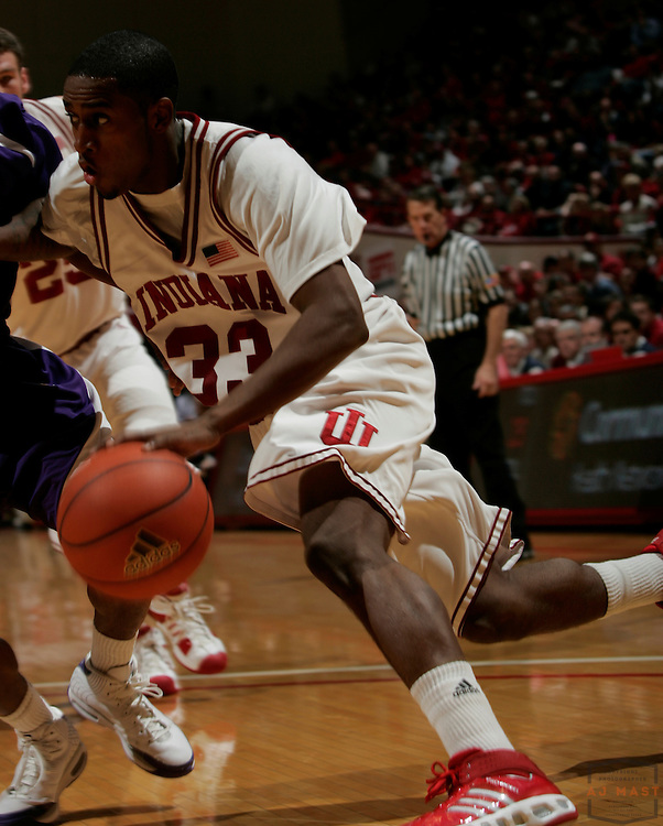 10 December 2008: Indiana guard Devan Dumes (33) as the Indiana Hoosiers played the TCU Horned Frogs in a college basketball game in Bloomington, Ind.