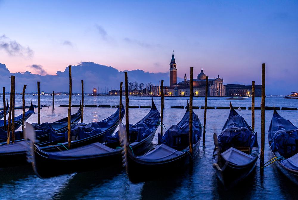 Gondolas at Blue Hour, Venice, Italy