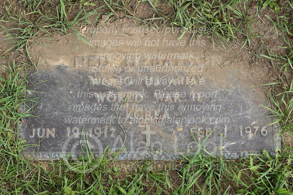 31 August 2017:   Veterans graves in Park Hill Cemetery in eastern McLean County.<br /> <br /> Ned H Batson  WO JG  US Army  World War II  Korea  Jun 19 1912  Feb 1 1976