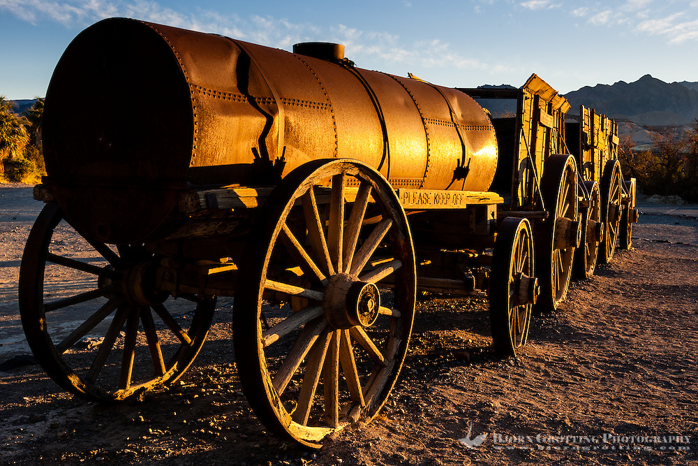 United States, California, Death Valley. Furnace Creek. Wagon from the Borax mining.