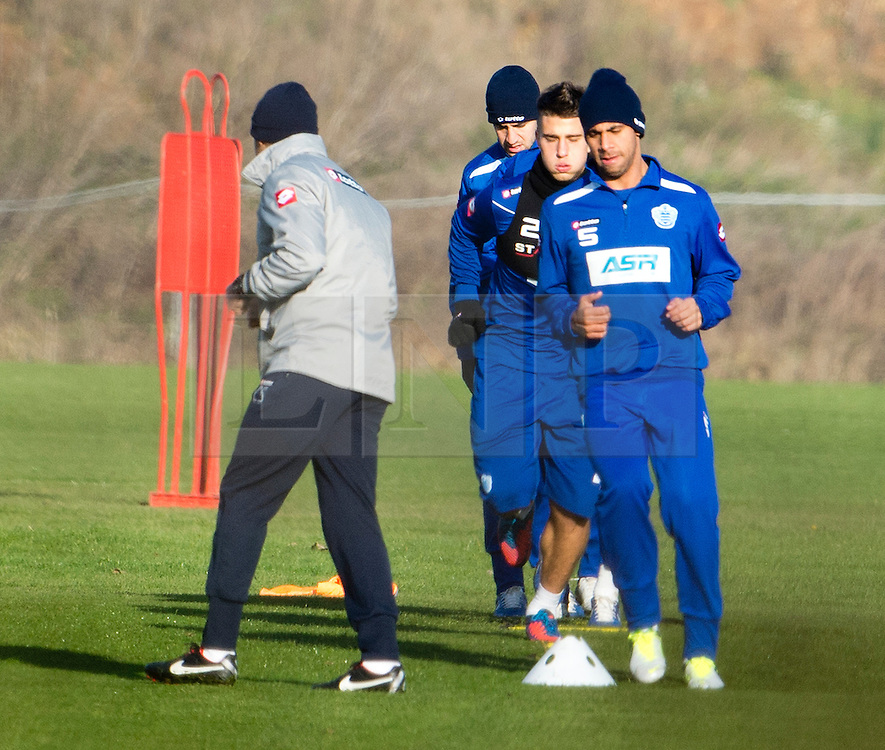 © London News Pictures. 30/11/2012. London, UK. Anton Ferdiannd (front) with the QPR Squad during training with QPR team  at the QPR training ground in Harlington, Wes London. Photo credit: Ben Cawthra/LNP