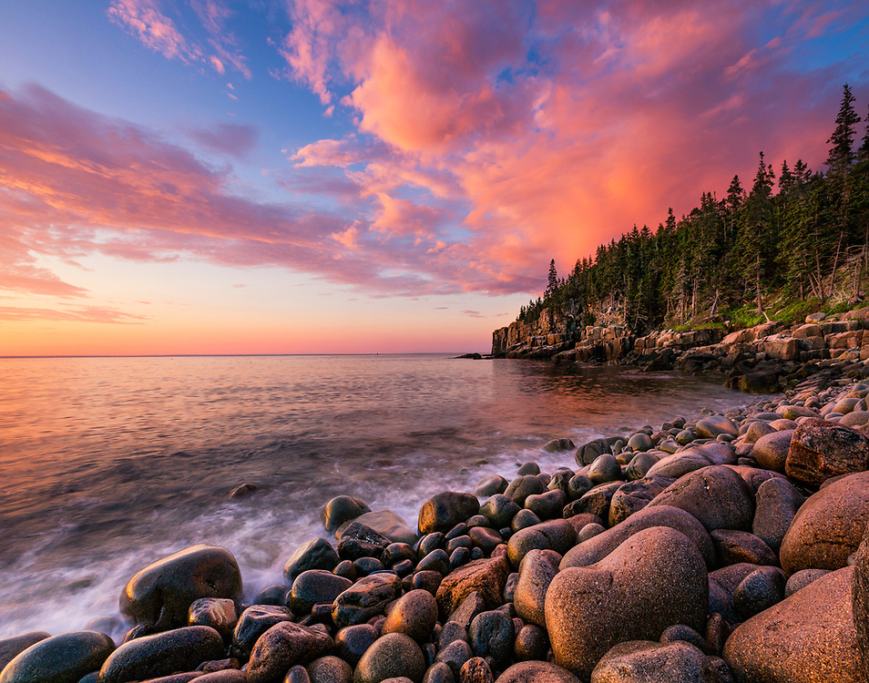 """Boulder Beach Sunrise - Acadia National Park Maine<br /> <br /> Available sizes:<br /> 11"""" x 14"""" print <br /> <br /> See Pricing page for more information. Please contact me for custom sizes and print options including canvas wraps, metal prints, assorted paper options, etc. <br /> <br /> I enjoy working with buyers to help them with all their home and commercial wall art needs."""