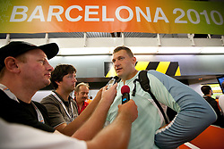Miro Vodovnik of Slovenia with journalists in mix zone after competing in the Mens Shot Put Qualifying during day four of the 20th European Athletics Championships at the Olympic Stadium on July 30, 2010 in Barcelona, Spain. (Photo by Vid Ponikvar / Sportida)