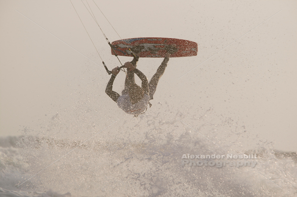 kiting scene at Sachuest (Second) Beach, Middletown Rhode island. Christian Schelbach rider