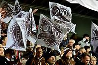 Fotball , 27. oktober 2019 , Eliteserien , Mjøndalen - Sarpsborg 0-0<br /> illustrasjon , MIF 3050 , flagg , brunt hjerte