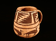 """Large Black and White Ancestral Pueblo mug with step design on top and """"four-legged birds"""" around the bottom, Edge of the Cedars State Park Museum, Blanding, Utah.  Pottery owned by the Utah Navajo Development Council / Utah Navajo Trust Fund.; Contact Fred Hirschmann prior to any publication.  (ECPR-3763)"""