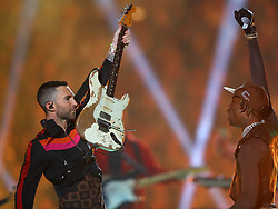 Maroon 5 frontman Adam Levine, left, shares the stage with rapper Travis Scott during the Super Bowl Halftime Show at Mercedes-Benz Stadium in Atlanta, GA, USA on Sunday, February 3, 2019. Photo by Curtis Compton/Atlanta Journal-Constitution/TNS/ABACAPRESS.COM