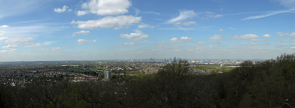 © Licensed to London News Pictures. 14/04/2014. Panoramic photo from roof of Severndroog. A 18th century castle on a hill in south east London is preparing to reopen as its restoration nears completion. Severndroog Castle in Oxleas Woods on Shooters Hill enjoys stunning views across five counties. The folly has been closed for many years and was in state of disrepair before work started on a restoration project last year. The historic building featured in the BBC series Restoration in 2004. Reopening date yet to be confirmed, more information available fron the Severndroog Castle Building Presevation Trust . Credit : Rob Powell/LNP