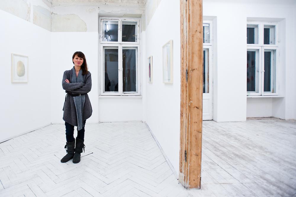 Agnieszka Czarnecka in her gallery Czarna Gallery in Warsaw