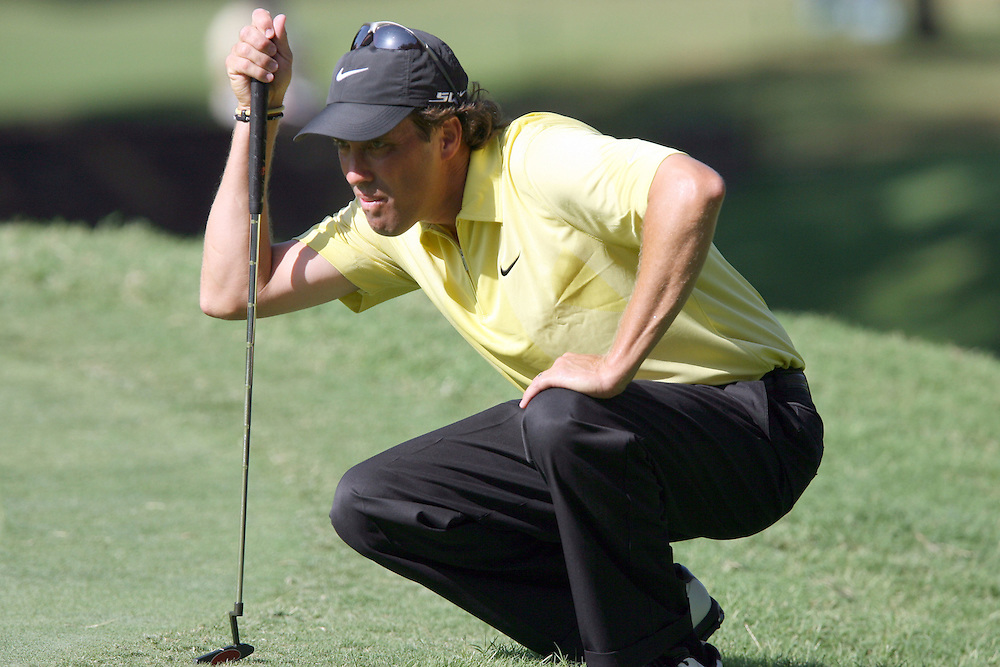 10 August 2007: Stephen Ames analyzes the 3rd green during the second round of the 89th PGA Championship at Southern Hills Country Club in Tulsa, OK.