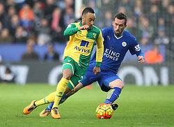 Nathan Redmond of Norwich City (L) and Christian Fuchs of Leicester City in action - Mandatory byline: Jack Phillips/JMP - 27/02/2016 - FOOTBALL - King Power Stadium - Leicester, England - Leicester City v Norwich - Barclays Premier League