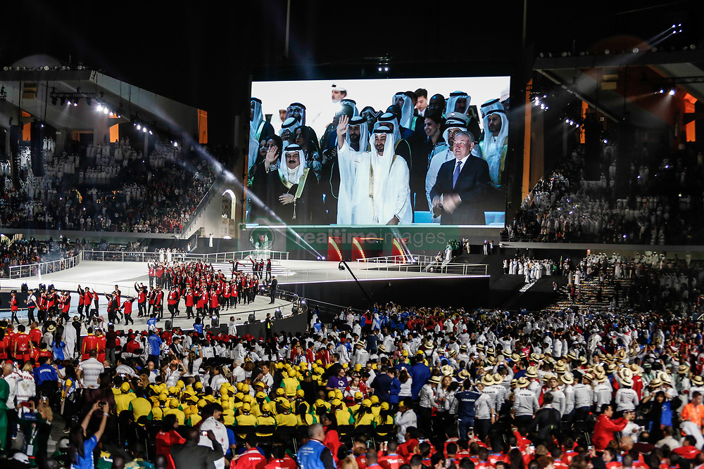 March 14, 2019 - Abu Dhabi, United Arab Emirates - Mohammed bin Zayed Al Nahyan, Crown Prince of Abu Dhabi captured waving to his representation during Special Olympics Summer World Games Opening Ceremony in Zayed Sports City in Abu Dhabi, United Arab Emirates on March 14, 2019. Special Olympics is a worldwide organization which organize sports competitions for people with learning difficulties. Summer World Games take place every 4 years. 7500 athletes from over 190 countries participate in Abu Dhabi Games in 2019. (Credit Image: © Dominika Zarzycka/NurPhoto via ZUMA Press)