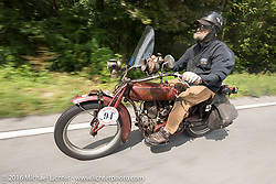 Rich Rau of Oregon riding his 1916 Indian during the Motorcycle Cannonball Race of the Century. Day-4 ride from Bloomington, IN to Cape Girardeau, MO. USA. Wednesday September 14, 2016. Photography ©2016 Michael Lichter.