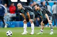 Javier Mascherano and Lionel Messi of Argentina warm up before the 2018 FIFA World Cup Russia, Group D football match between Nigeria and Argentina on June 26, 2018 at Saint Petersburg Stadium in Saint Petersburg, Russia - Photo Stanley Gontha / Pro Shots / ProSportsImages / DPPI