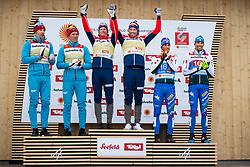 February 24, 2019 - Seefeld In Tirol, AUSTRIA - 190224 Silver medalists Gleb Retivykh and Alexander Bolshunov of Russia, gold medalists Johannes HÂ¿sflot Kl¾bo and Emil Iversen of Norway and bronze medalists Bronze medalists Francesco di Fabiani and Federico Pellegrino of Italy at the flower ceremony after the men's team sprint during the FIS Nordic World Ski Championships on February 24, 2019 in Seefeld in Tirol..Photo: Joel Marklund / BILDBYRN / kod JM / 87889 (Credit Image: © Joel Marklund/Bildbyran via ZUMA Press)