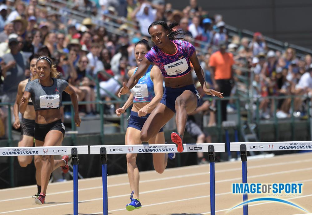 Jun 25, 2017; Sacramento, CA, USA; Dalilah Muhammad wins the women's 400m hurdles in 52.64 during the USA Track and Field Championships at Hornet Stadium.