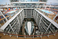 The launch of Royal Caribbean International's Oasis of the Seas, the worlds largest cruise ship..View down to Central Park from the sports deck.