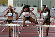 Super 8 athletics at the Cardiff International Stadium on Wed 10th June 2009. Tasha Danvers (c) of London South on her way to victory in the Womens 100m hurdles race.