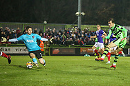 Forest Green Rovers Christian Doidge(9) shoots at goal scores a goal 3-2 during the The FA Cup match between Forest Green Rovers and Exeter City at the New Lawn, Forest Green, United Kingdom on 2 December 2017. Photo by Shane Healey.