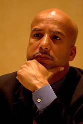 16 December, 05. New Orleans, Louisiana. <br /> New Orleans Mayor Ray Nagin is grilled by the media before his 'town hall meeting' where he listens and responds to residents at the Sheraton Hotel.<br /> Photo; ©Charlie Varley/varleypix.com