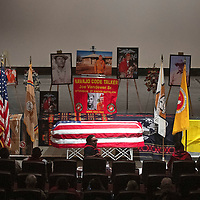 The funeral service of Navajo Code Talker Joe Vandever Sr. at El Morro Theatre Wednesday in Gallup. Vandever was laid to rest at the Santa Fe National Cemetery in Santa Fe, New Mexico Thursday.