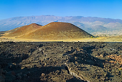 Lava field, cinder cones, and Mauna Kea, Big Island, Hawaii