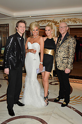 Left to right, CONRAD BAKER, CLAIRE CAUDWELL, EMMA NOBLE and JOHN CAUDWELL at a birthday dinner for Claire Caudwell for family & friends held at The Dorchester, Park Lane, London on 24th January 2014.