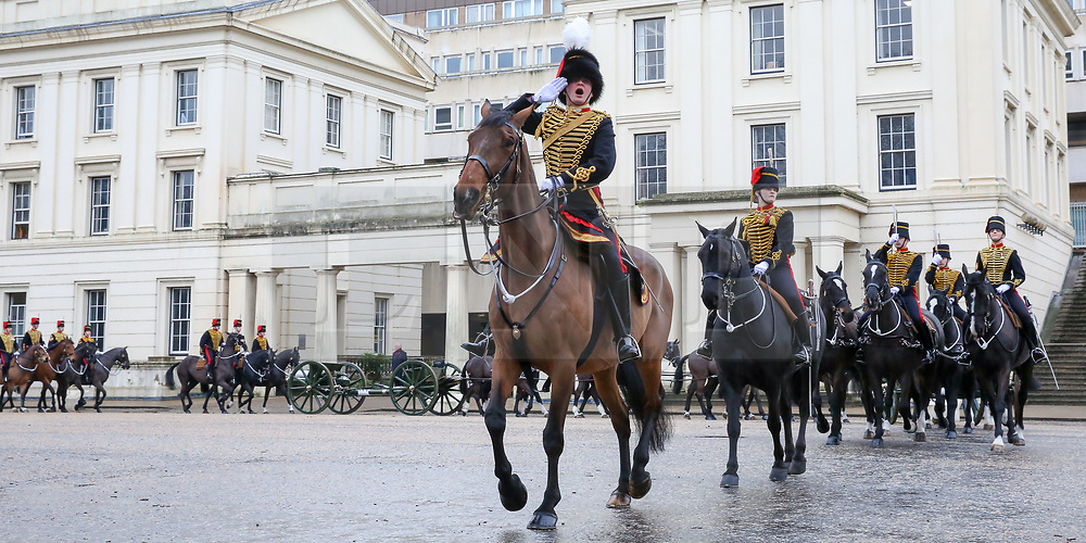 © Licensed to London News Pictures. 06/02/2019. London, UK. Members of The King's Troop Royal Horse Artillery leaves Wellington Barracks for Green Park to fire a 41-gun salute to mark the 67th anniversary of the Queen Elizabeth II's accession to the throne, in Green Park. Photo credit: Dinendra Haria/LNP