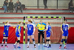 Players of Slovenia during handball game between Women National Teams of Slovenia and Switzerland in 2014 Women's European Championship Qualification, on March 30, 2014 in Arena Kodeljevo, Ljubljana, Slovenia. Photo by Vid Ponikvar / Sportida