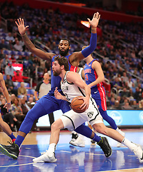 October 17, 2018 - Detroit, MI, USA - The Brooklyn Nets' Joe Harris drives the lane against the Detroit Pistons' Andre Drummond during the second period on Wednesday, Oct. 17, 2018, at Little Caesars Arena in Detroit. (Credit Image: © Kirthmon F. Dozier/Detroit Free Press/TNS via ZUMA Wire)