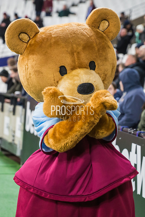 West Ham United FC mascot ahead of the Premier League match between West Ham United and Arsenal at the London Stadium, London, England on 9 December 2019.