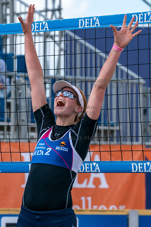 Jantine van der Vlist celebrate after the 2-1 win in the bronze medal match. The Final Day of the DELA NK Beach volleyball for men and women will be played in The Hague Beach Stadium on the beach of Scheveningen on 23 July 2020 in Zaandam.