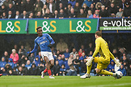 Portsmouth Midfielder, Jamal Lowe (10) has a shot saved by Wycombe Wanderers Goalkeeper, Ryan Allsop (1) during the EFL Sky Bet League 1 match between Portsmouth and Wycombe Wanderers at Fratton Park, Portsmouth, England on 22 September 2018.