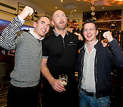 Killian Dooley Renmore and Stephan Garvey Galway city Centre can't convince Trevor Brennan to shout for Connacht  at the Guinness Area22 event in the Carlton Hotel Galway..