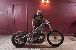 Brad Gregory with his radical de-raked (25°) Evo chopper at the Mama Tried Show. Milwaukee, WI. USA. Sunday February 25, 2018. Photography ©2018 Michael Lichter.