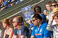 Rochdale fan using a club calendar as a sun shade during the EFL Sky Bet League 1 match between Rochdale and Charlton Athletic at Spotland, Rochdale, England on 5 May 2018. Picture by Paul Thompson.