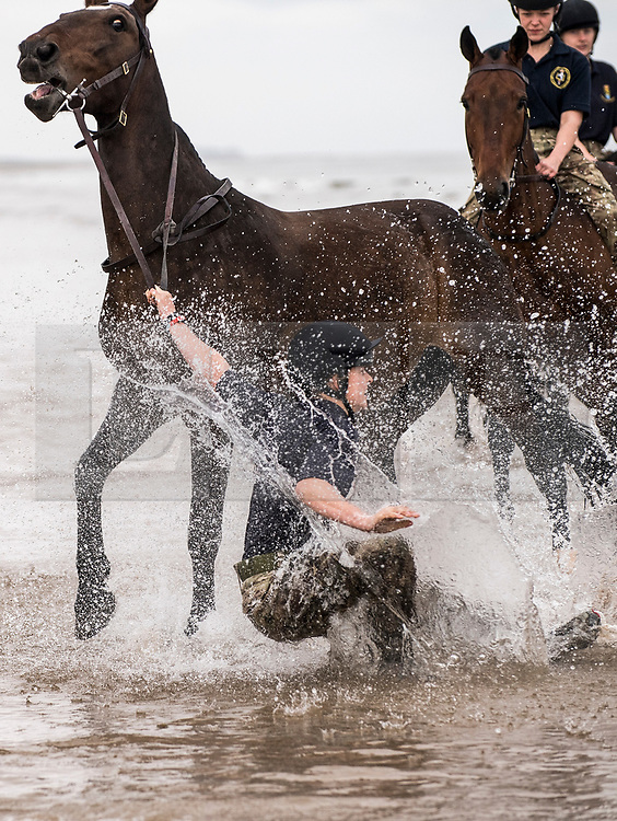 © London News Pictures. 20/09/2017. A King's Troop Royal Horse Artillery falls off her steed.. The King's Troop Royal Horse Artillery training on Holkham beach at Bodney Camp, Norfolk as part of their Regimental training, which is impossible to carry out at their London based barracks. Almost 100 horses from The King's Troop will be staying in Norfolk this month. Photo credit: Sgt Rupert Frere/LNP