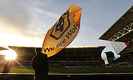 Wolves flag waving during the Sky Bet Championship match between Wolverhampton Wanderers and Brighton and Hove Albion at Molineux, Wolverhampton, England on 20 December 2014.