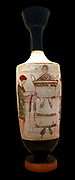 Greek white-ground oil bottle (Lakythos) made in Athens circa 420-410 BC. Depicting commemorative rite at a tomb where a woman leaves garlands on a gravestone, while a youthful figure looks on.