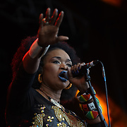 London, England, UK. 16th July 2017. Oumou Sangare and her band performs at the Citadel Festival at Victoria Park, London, UK.