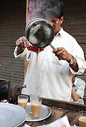 India, street vendor making chai