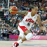 11 August 2012: USA Seimone Augustus dribbles during 86-50 Team USA victory over Team France, during the Women's Gold Medal Game, at the North Greenwich Arena, in London, Great Britain.