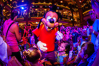 Max Goof, Character dance party, in the lobby atrium on the new Disney Dream cruise ship sailing between Florida and the Bahamas.