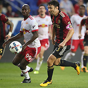 HARRISON, NEW JERSEY- OCTOBER 15: Bradley Wright-Phillips #99 of New York Red Bulls and Michael Parkhurst #3 of Atlanta United in action during the New York Red Bulls Vs Atlanta United FC, MLS regular season match at Red Bull Arena, Harrison, New Jersey on October 15, 2017 in Harrison, New Jersey. (Photo by Tim Clayton/Corbis via Getty Images)