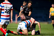Bradford Bulls prop Liam Kirk (8) in the tackle during the Kingstone Press Championship match between Rochdale Hornets and Bradford Bulls at Spotland, Rochdale, England on 18 June 2017. Photo by Simon Davies.
