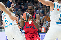 Real Madrid Rudy Fernandez and Baskonia Vitoria Rodrigue Beauvois during Turkish Airlines Euroleague match between Real Madrid and Baskonia Vitoria at Wizink Center in Madrid, Spain. January 17, 2018. (ALTERPHOTOS/Borja B.Hojas)