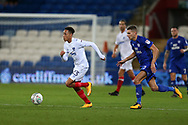 Kyle Bennett of Portsmouth (l) in action. Carabao Cup, 1st round match, Cardiff city v Portsmouth at the Cardiff city Stadium in Cardiff, South Wales on Tuesday August 8th 2017.<br /> pic by Andrew Orchard, Andrew Orchard sports photography.