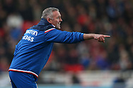 Paul Lambert, the manager of Stoke City shouts and points to his players from the touchline. Premier league match, Stoke City v Manchester City at the Bet365 Stadium in Stoke on Trent, Staffs on Monday 12th March 2018.<br /> pic by Andrew Orchard, Andrew Orchard sports photography.