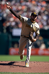 San Diego Padres starting pitcher Joe Musgrove (44) delivers a pitch against the San Francisco Giants during the first inning of a baseball game, Saturday, Oct. 2, 2021, in San Francisco. (AP Photo/D. Ross Cameron)