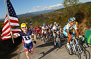 A FAN CHEERS ASTANA ON STAGE FIFTEEN OF THE 2008 TOUR OF SPAIN